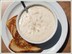 Delicious Seafood Chowder at the Ship Victory family friendly seafood restaurant in Dartmouth, NS