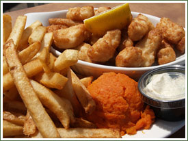 Haddock tips at seafood restaurant in Dartmouth, NS